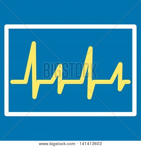 Cardiogram vector icon. Style is bicolor flat symbol, yellow and white colors, rounded angles, blue background.