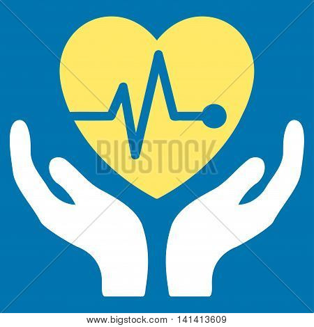 Cardiology vector icon. Style is bicolor flat symbol, yellow and white colors, rounded angles, blue background.