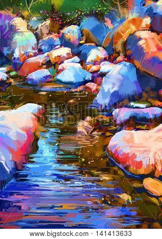 beautiful river amongst colorful stones, digital painting
