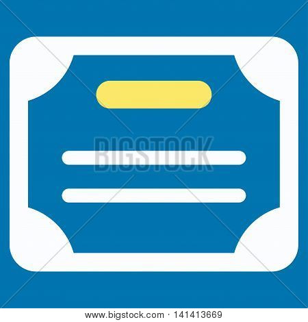 Certificate vector icon. Style is bicolor flat symbol, yellow and white colors, rounded angles, blue background.