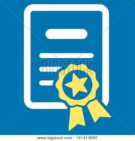 Certified Diploma vector icon. Style is bicolor flat symbol, yellow and white colors, rounded angles, blue background.