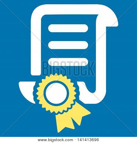 Certified Scroll Document vector icon. Style is bicolor flat symbol, yellow and white colors, rounded angles, blue background.