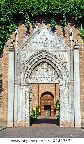 Basilica of San Giovanni Evangelista principal facade. Ravenna Emilia-Romagna. Italy.
