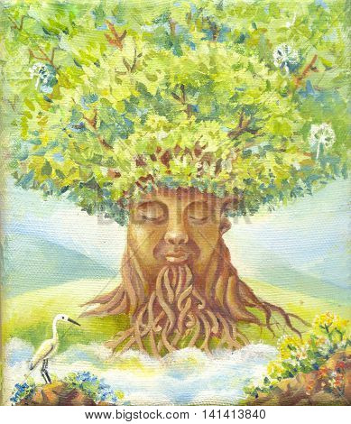 tree of wisdom oil painting suit for poster print wallpaper backgroung as illustration. Fantasy picture. Fantastic illustration. Magic story. Hand drawn sketch