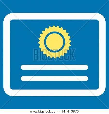 Diploma vector icon. Style is bicolor flat symbol, yellow and white colors, rounded angles, blue background.