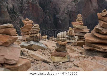 Kairns on top of Angels Landing in Zion