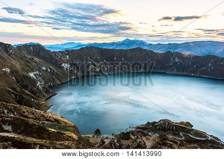 Ilinizas Volcanoes under the Quilotoa lagoon Andes. Ecuador. Ilinizas Nature Reserve. Los Ilinizas - these 2 volcanos: Iliniza Sur at 5263m and Iliniza Norte at 5126m