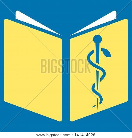 Drug Handbook vector icon. Style is bicolor flat symbol, yellow and white colors, rounded angles, blue background.