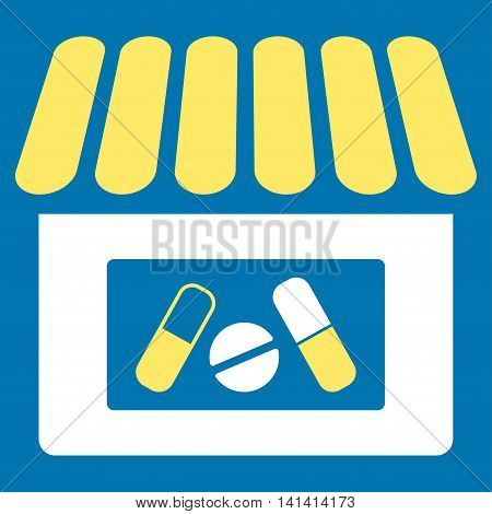 Drugstore vector icon. Style is bicolor flat symbol, yellow and white colors, rounded angles, blue background.