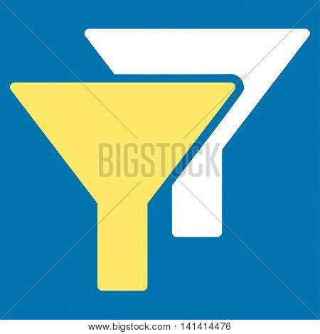 Filters vector icon. Style is bicolor flat symbol, yellow and white colors, rounded angles, blue background.