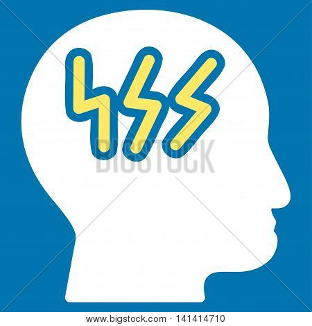 Headache vector icon. Style is bicolor flat symbol, yellow and white colors, rounded angles, blue background.
