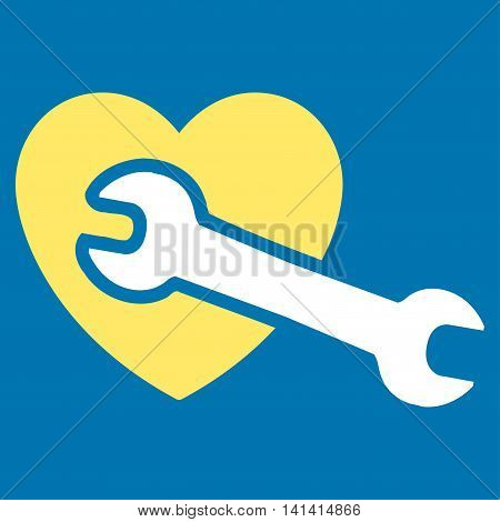 Heart Surgery vector icon. Style is bicolor flat symbol, yellow and white colors, rounded angles, blue background.