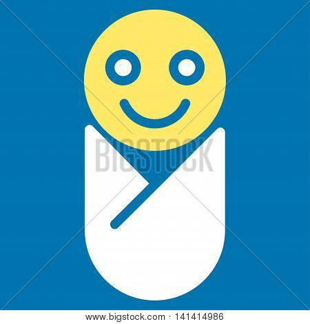 Infant vector icon. Style is bicolor flat symbol, yellow and white colors, rounded angles, blue background.