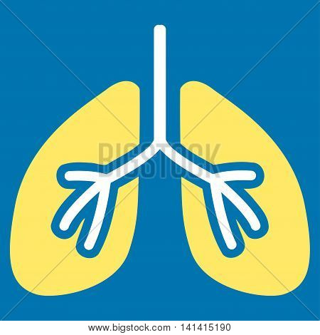 Lungs vector icon. Style is bicolor flat symbol, yellow and white colors, rounded angles, blue background.