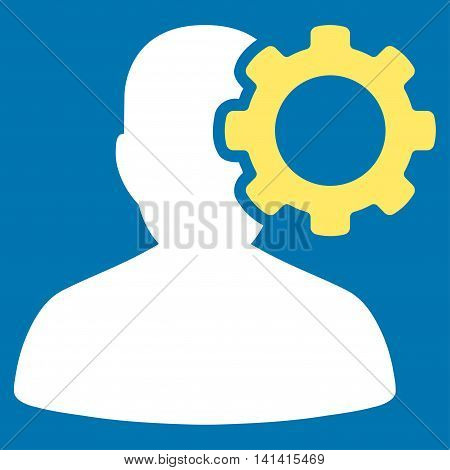 Migraine vector icon. Style is bicolor flat symbol, yellow and white colors, rounded angles, blue background.