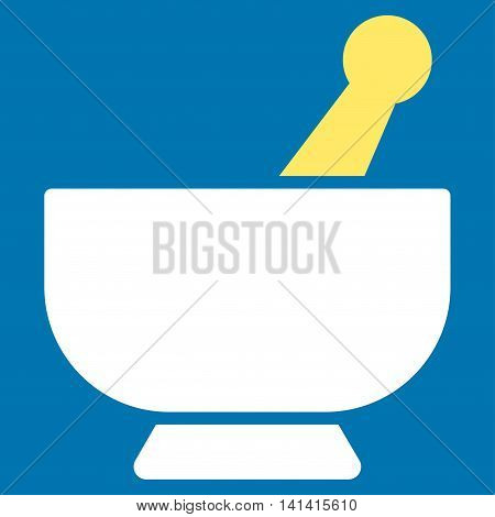 Mortar vector icon. Style is bicolor flat symbol, yellow and white colors, rounded angles, blue background.