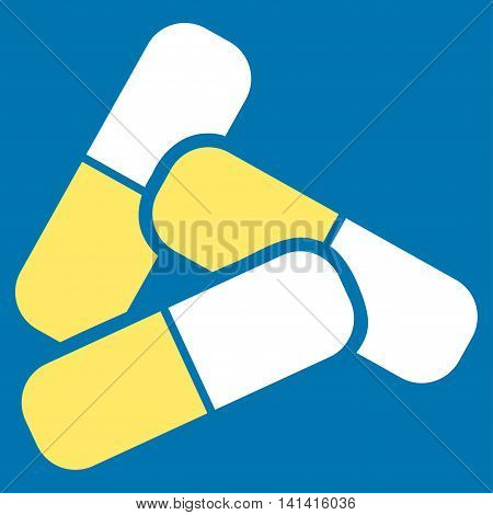 Pills vector icon. Style is bicolor flat symbol, yellow and white colors, rounded angles, blue background.