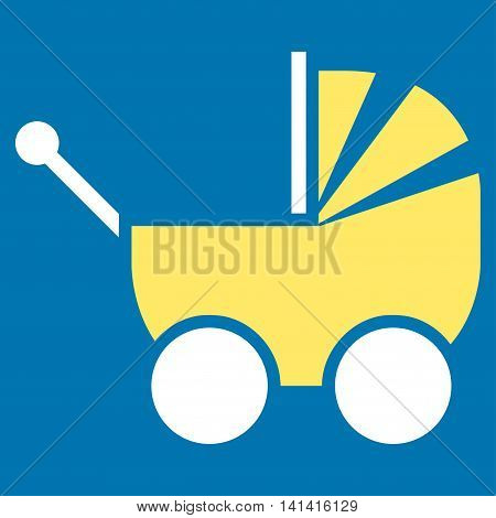 Pram vector icon. Style is bicolor flat symbol, yellow and white colors, rounded angles, blue background.