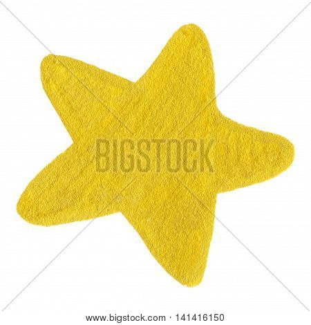 Golden yellow velvet star symbol shape isolated
