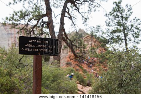 Angels Landing Trail Sign in Zion National Park