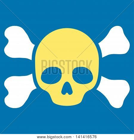 Skull And Bones vector icon. Style is bicolor flat symbol, yellow and white colors, rounded angles, blue background.