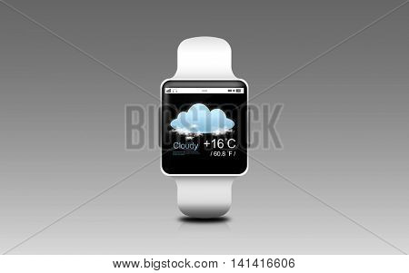 modern technology, object and weather forecast concept - illustration of smart watch with cloud and air temperature on screen over gray background