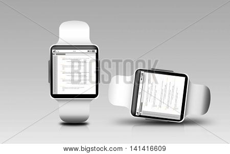 modern technology, object, responsive design and programming concept - smart watches with coding on screen over gray background