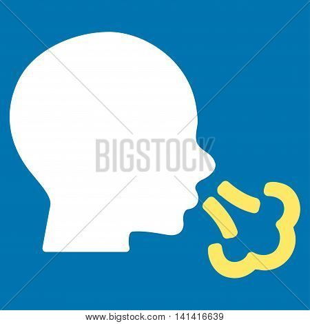 Sneezing vector icon. Style is bicolor flat symbol, yellow and white colors, rounded angles, blue background.