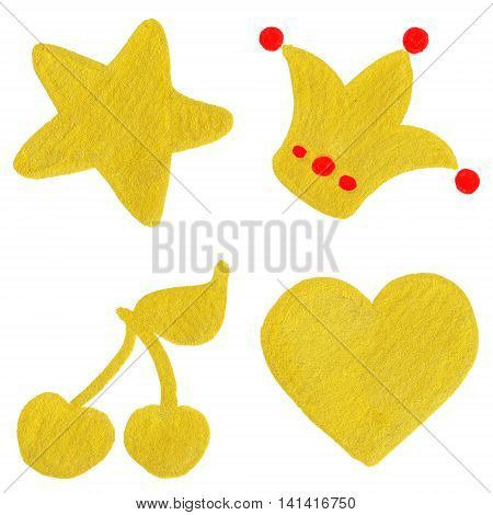 Golden yellow velvet star crown cherry heart symbol set isolated