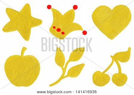 Golden yellow star crown heart apple branch cherry symbol set
