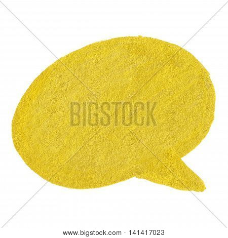 Golden yellow velvet thought balloon bubble cloud symbol isolated