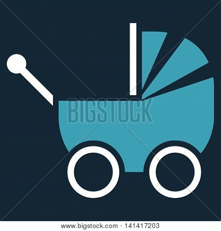 Baby Carriage vector icon. Style is bicolor flat symbol, blue and white colors, rounded angles, dark blue background.