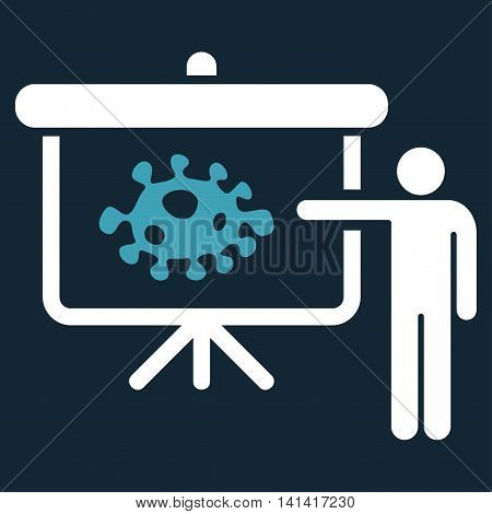 Bacteria Lecture vector icon. Style is bicolor flat symbol, blue and white colors, rounded angles, dark blue background.