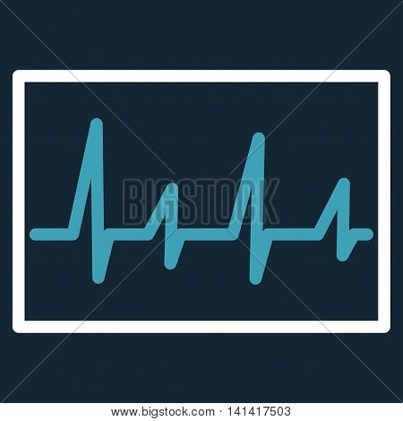 Cardiogram vector icon. Style is bicolor flat symbol, blue and white colors, rounded angles, dark blue background.
