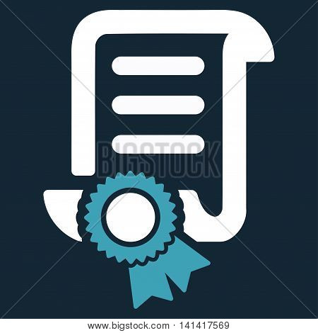 Certified Scroll Document vector icon. Style is bicolor flat symbol, blue and white colors, rounded angles, dark blue background.