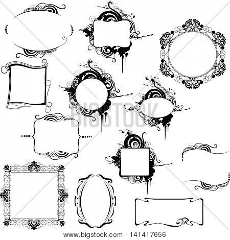 black and white decorative different frames