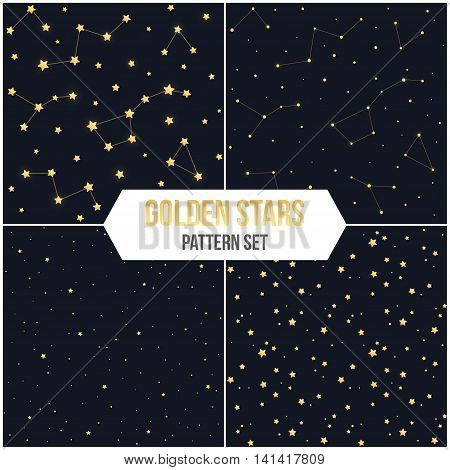 Seamless star pattern set. Tileable vector backgrounds of golden stars and constellations.