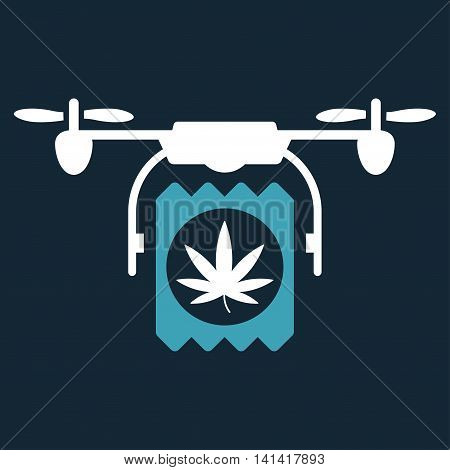 Drugs Drone Delivery vector icon. Style is bicolor flat symbol, blue and white colors, rounded angles, dark blue background.