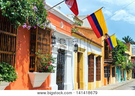 Colombian Flags And Colonial Buildings