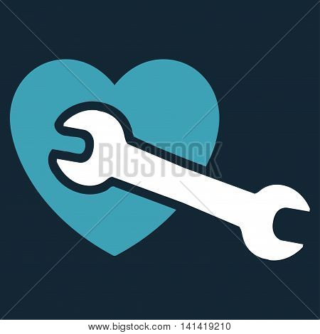 Heart Surgery vector icon. Style is bicolor flat symbol, blue and white colors, rounded angles, dark blue background.