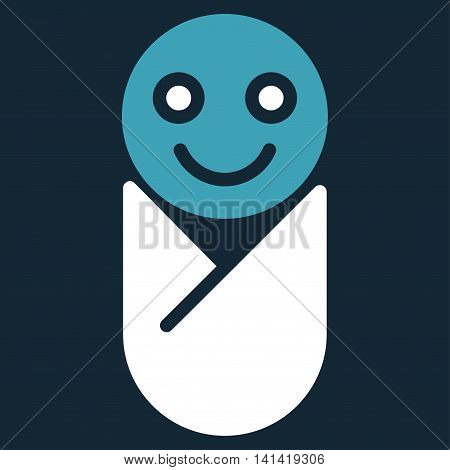 Infant vector icon. Style is bicolor flat symbol, blue and white colors, rounded angles, dark blue background.