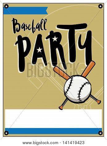 Baseball Party Invitation Template Illustration