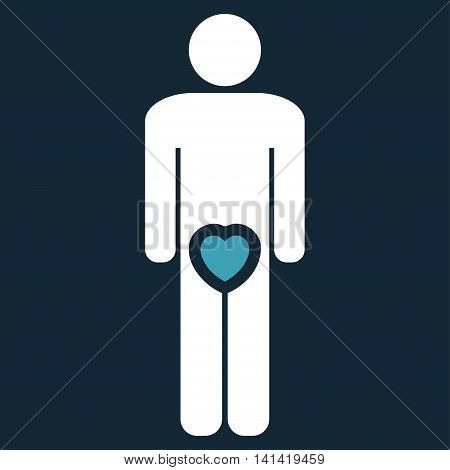 Male Love vector icon. Style is bicolor flat symbol, blue and white colors, rounded angles, dark blue background.
