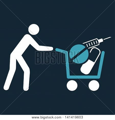 Medical Shopping vector icon. Style is bicolor flat symbol, blue and white colors, rounded angles, dark blue background.