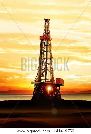 gas and oil production on the sea at sunrise, platform