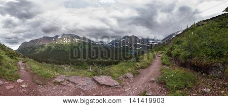 Panorama Ascending Trail To Grinnell Glacier