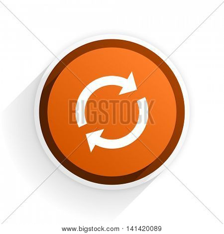 reload flat icon with shadow on white background, orange modern design web element