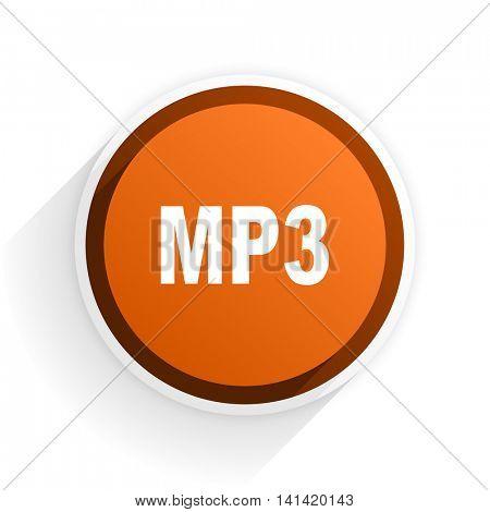 mp3 flat icon with shadow on white background, orange modern design web element