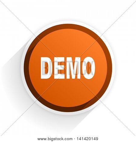 demo flat icon with shadow on white background, orange modern design web element