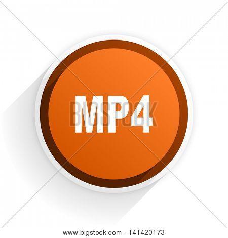 mp4 flat icon with shadow on white background, orange modern design web element
